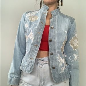 Embroidered Jean Jacket White floral detailing